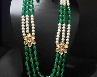 Emerald Green stone necklace, Indian necklace, Green, Indian wedding jewelry, Kundan necklace set, Pakistani jewelry, Boho, Eid jewelry.