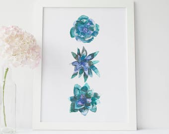 Succulent Print, Succulent Printable, Cactus Artwork, Agave Artwork, Watercolor Sucuclent, Cactus Print, Plant Art Print, Printable Wall Art