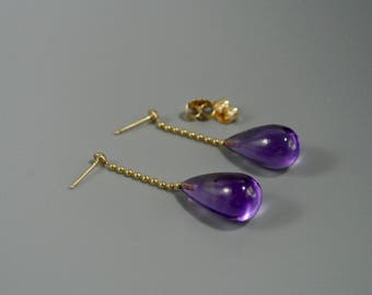 Amethyst 14k solid  gold earrings, Amethyst  14k dangle earrings, Drop shape Amethyst 14k gold earrings
