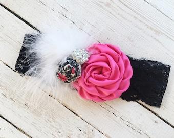 Thick Lace Headband - Black Lace Headband - Girls Lace and Flower Headband - Hot Pink Baby Head Band Photo Prop - Baby Birthday Headband -