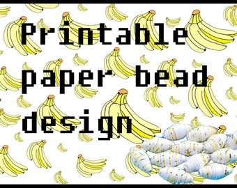 Printable beading sheet. Make your own paper beads. Bananas. Yellow and white. Paper bead sheet. Paper beading. Beading project. Cute beads