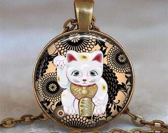 Black and Tan Maneki Neko necklace, Maneki Neko pendant Japanese Lucky Cat necklace Lucky Cat jewelry key chain key ring key fob