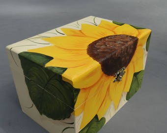 Sunflower Hand Painted wood Recipe box, personalize with a Name or family, wedding gift, housewarming gift, shower gift, money system