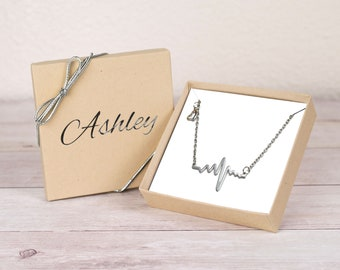 Heartbeat Necklace for Nurse Gift, Personalized Gift for Nurse Jewelry Nurse Necklace Medical Student Gift for Her ECG Necklace EKG Necklace