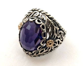 Sterling silver Ring, Amethyst ring, engagement ring, purple stone ring, gypsy ring, gold silver ring, two toned ring  - Sweet song R2166