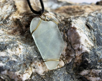Handmade Cornish Sea Glass Wire Wrapped Pendant Large Necklace Organic Jewellery Eco Fashion Sustainable Reclaimed Boho Wedding Accessories