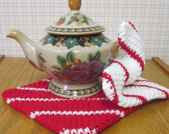 Crochet Potholder Red and White - Set of 2 Potholders/Trivet