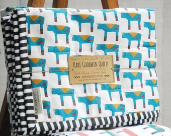 Organic Wholecloth Quilt - Teal Rhino with Hand Dyed Sunset Red Backing, Organic Baby Quilt
