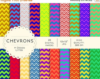 80% Until New Year - Chevrons colorful digital papers · colorful paper chevrons funny multicolor backgrounds for scrapbooking · Instant down