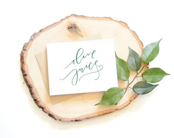 Olive Juice I Love You card . Hand lettered card . heart . modern calligraphy . anniversary card . love . anytime . best friend