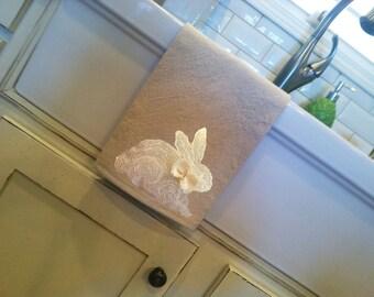 Tea Towel, Rabbit Kitchen Decor, Easter Bunny, Kitchen Linens, Teacher Appreciation Gifts, Holiday Linens, Hand-painted, Handmade