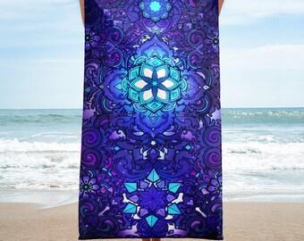 Gifts For Her Blue Towel Purple Towel Hippie Boho Rave EDM Festival Towel