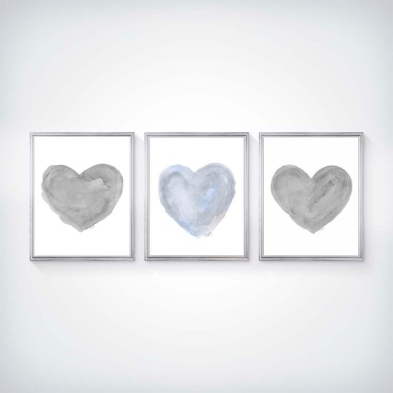 Blue and Gray Heart Set for Nursery, Set of 3 - 8x10 Watercolor Prints