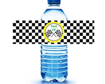 RACE CAR THEME // Race Car theme party labels // water bottle party labels // Soda labels // checkered flag party // fuel up party