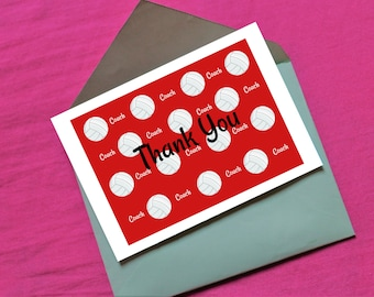 Volleyball Coach Thank You in red - digital download- 7 x 5