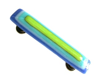 Electric Blue, Turquoise, Lime Green Colorful Glass Drawer Pull or Cabinet Handle