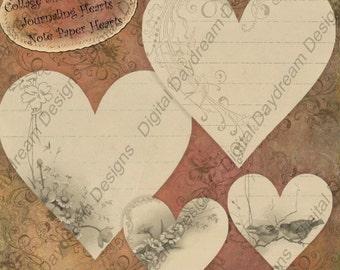 Instant Download Digital Printable Scrapbooking Journaling Hearts Collage Sheet - Valentine - Notepaper Hearts Misc Size
