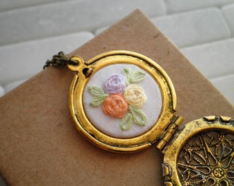Embroidered Rose Locket Necklace - Rosette Garden Embroidery Necklace Pastel Purple Filigree Locket Floral Roses Fiber Jewelry Gift For Her