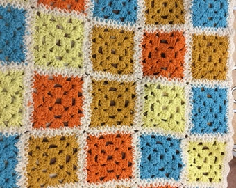 Vintage Baby Blanket Hand Crocheted Granny Squares