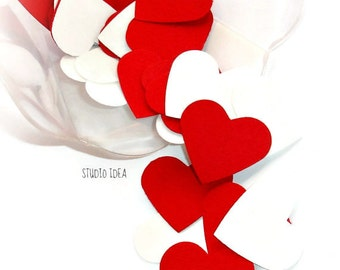 120 Mixed White and Red Heart  Cut-outs, Confetti, Table Decoration - Set of 120 pcs