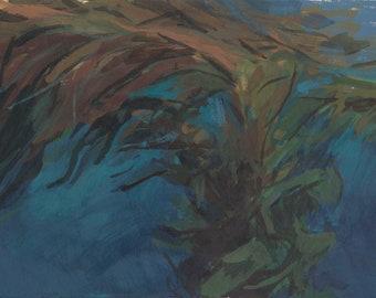 seascape painting of kelp forest / ocean painting / landscape art / coastal home decor / nautical wall art