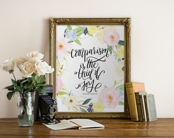 Printable Art Comparison is the Thief of Joy Theodore Roosevelt // Printable Art // home art, office, wall print//Peachpod Paperie