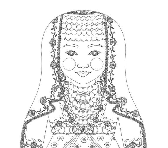 Turk Doll Traditional Dress Coloring Sheet Printable Matryoshka