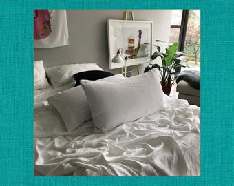 Teal Pair of Linen Pillowcases - Minimalist Bedding - Made to Order in the USA