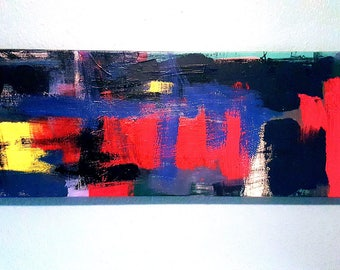 """You Blue 10""""x30"""" Abstract Art"""