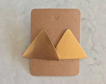 Statement Brass Gold Stud Triangle Earrings