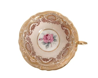 Tea Cup and Saucer Peach Paragon Pink Rose Gold Gilt Double Warrant