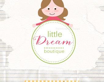 Little girl logo design, business logo design, boutique logo design, kids boutique logo design, ooak premade logo