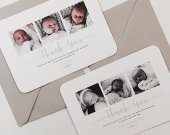 New Baby Thank You Cards Photograph Personalised Handmade Pack 40 50 60 70 80
