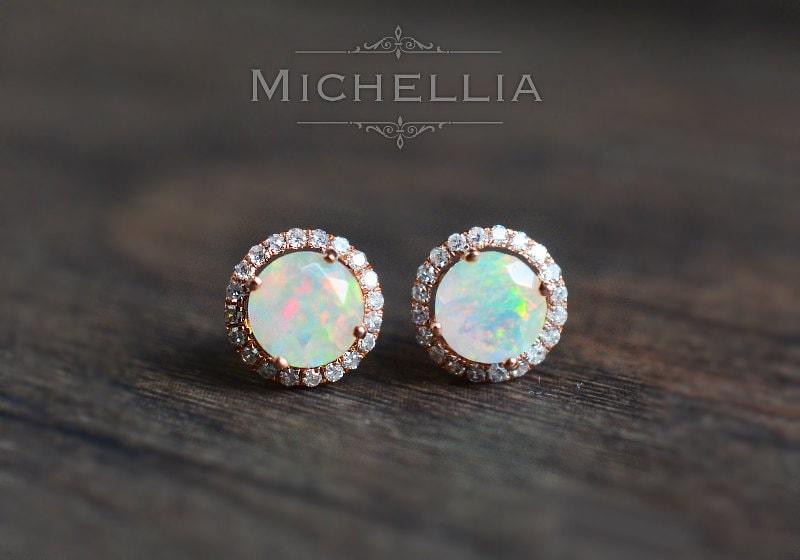 Brand-new Petite Halo Diamond Earrings in Opal Ethiopian Fire Opal and WB14