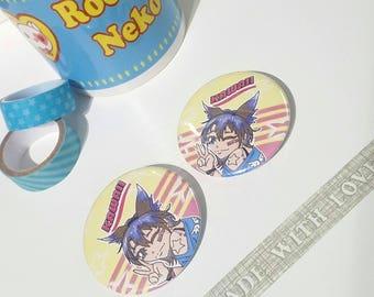 Kawaii Anime  Neko Girl Pinback button / mirror / Keychain