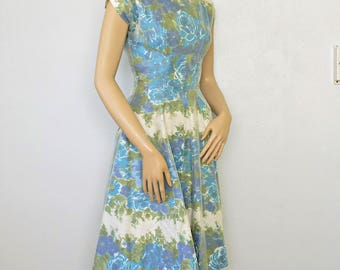 Vintage Party Dress 1950's 1960's Floral Flare Skirt Summer Dress Size Very Small