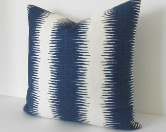 Navy blue ikat stripe decorative throw pillow
