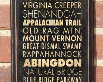 Virginia VA Destinations Wall Art Sign Plaque Gift Present Home Decor Vintage Style richmond roanoke blacksburg Blue Ridge Abington Antiqued
