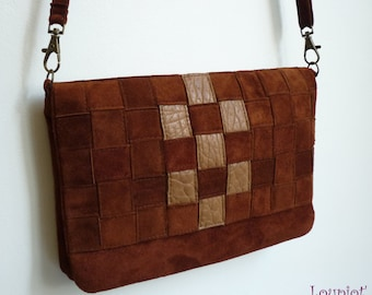 Small shoulder bag in brown suede and smooth leather brown