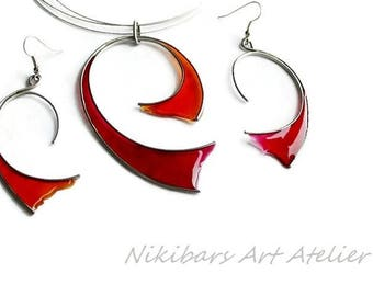 Red Orange Jewelry Set - Stained Glass Jewelry Set - Steel Resin Necklace Earrings Se - Wire Wrapped Resin Vitrage Set -  Modernist Jewelry