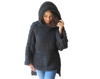 Oversized Hand Knitted Antracite Wool Sweater - Short in Front Long in Back - Plus Size Sweater