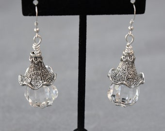 Faceted Lucite Drops with Ruffled Textured Caps Pierced Earrings