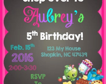 Custom Printable Shopkins Invitation