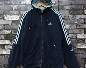 ADIDAS Equipment Zip Up Jacket Vintage Adidas Three Stripes Hoodie Jacket Large Size #919