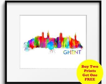 Ghent Skyline Watercolor Art Print (311) Cityscape Belgium