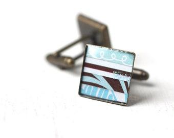 Blue and Brown Men's Cufflinks - Stripes Square Cuff Link for Men Groom Groomsmen Beach Wedding Horizontal Nautical