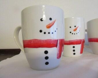 Mugs Snowman  Hand Painted by ME Awesome Gift for the Kids  Unique  One of a Kind  Holiday Decor Eggnog Mug Hot Chocolate Mug Milk Mug