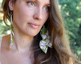 Lime green feather style earrings, Bohemian dangle earrings, lightweight boho, colorful eclectic jewelry, fiber art jewelry, long dangle