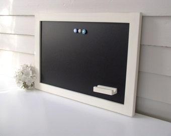 Rustic Magnetic Chalkboard Bulletin Board 15 x 22 Handmade Hardwood Frame in Pale Yellow Cream Distressed Frame with Pen Shelf Chalk Marker