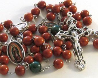 Our Lady Guadalupe Red Jasper and Malachite Gemstone Handmade Catholic Rosary
